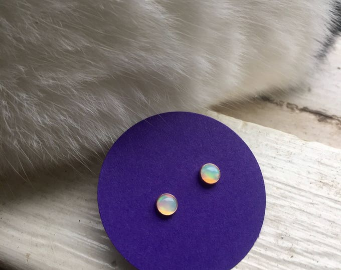 ethiopian welo opal studs in solid 14k yellow or rose gold