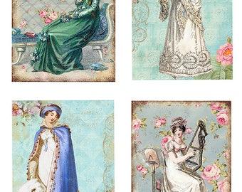 Jane Austen /Regency /Set of 4 Panels/ ATC/ Altered Art/ Cards Craft