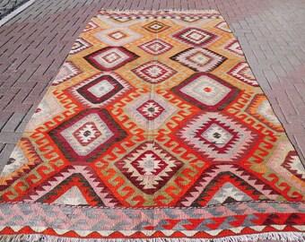 "Handmade Vintage turkish kilim rug, turkish rug, colorful area rug, wool rug, large kitchen rug, geometric design, 117"" x 66"""