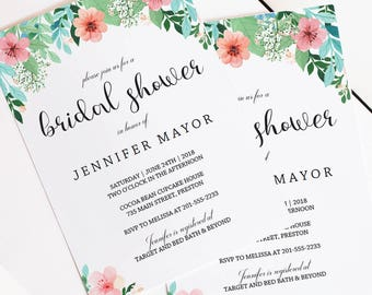 Pink Floral Bridal Shower Invitation Watercolor Bridal Shower Invites Printable Invitation Bridal Shower Invitation Floral Watercolor FG1