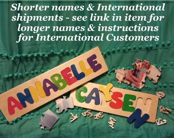 Wooden Custom Name Puzzle - any ONE name International Shipping