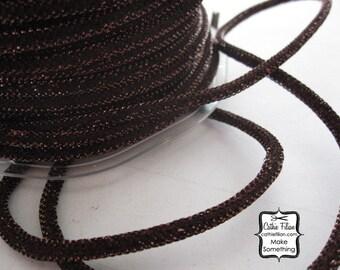 3 yards - Bronze Brown Metallic WIRED cording - Tinsel - Halloween Thanksgiving