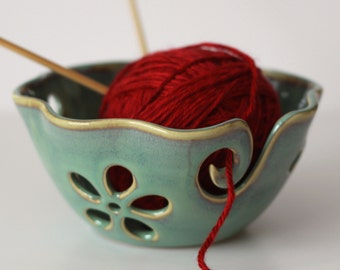 Ruffled Flower Ceramic Yarn Bowl, Yarn Bowl, Knitting Bowl, Crochet Bowl , Sea Foam Green Blue Yarn Bowl, Made to Order