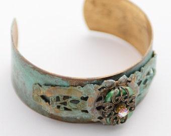 Emmeline: Rustic Verdigris Green Patina Cuff Bracelet, Filigree Wrapped Stone Bracelet, Handmade Patina Green Bracelet, Vintage Inspired