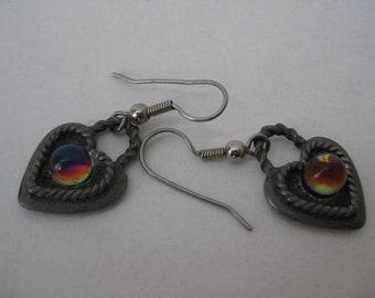 Heart Rainbow Dangle Earrings Pewter Pierced Wire Vintage