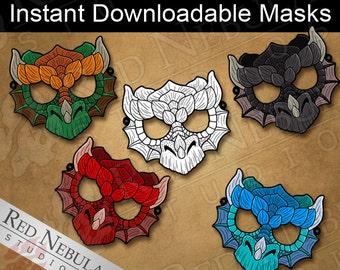 Dragon Mask Instant Download, Printable Paper Masks, Dragon Party Mask, Children's Coloring Mask, Digital Download, Red, Black, Blue, Green