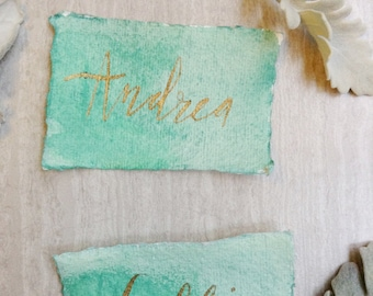 Cotton Paper Place Cards with Green Watercolor// rustic wedding// vintage wedding// Forest Wedding // wedding decor// calligraphy// wedding