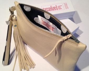 Cream Leather Wristlet- Bag with Matching Hand Loop