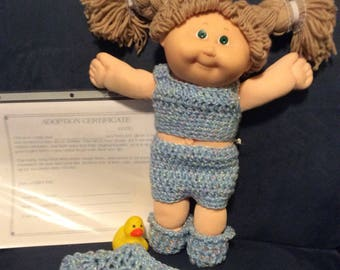 "14"" reborn cabbage patch doll and her pet duck."