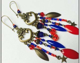 Earrings, Gypsy, Bohemian earrings ear colored beads, red and blue sequins