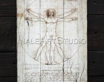 Vitruvian Man (1490) by Leonardo Da Vinci Reproduction Picture on wood Image transfer Wood wall hanging Wood wall art Wood wall decor