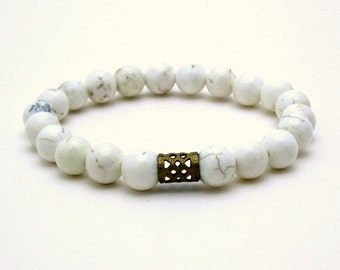White Minimalist Beaded Bracelet White Magnesite Partner Bracelet with Brass for Her Under 40,