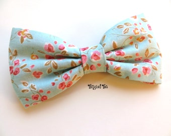 Mint Pink Floral Bow Tie, Mint Bow Tie, Wedding Bow Ties, Groomsmen Bow Tie, Ring Bearer Bow Tie