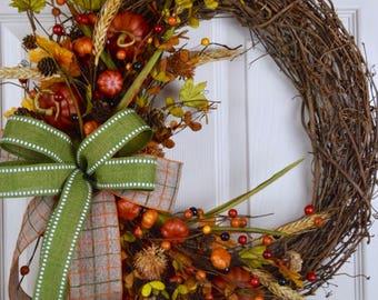 Mini Pumpkins Grapevine Wreath with Berries and Foliage; Autumn Wreath Decor; Fall Door Decor; Wreath with Pumpkins Fall Leaves Pine Cones