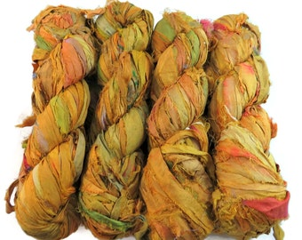 New! Premium Sari Silk Ribbon, Golden Yellow