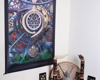 LIGHT WIZARD - Wall Hanging - World Bridger - Tapestry - Banner - Visionary Art - Photograph - Sublimation -Print - Spiritual - Art -Psy