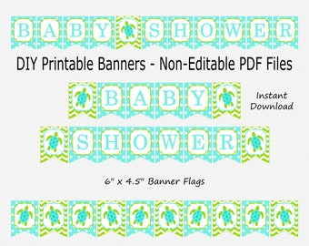 Baby Shower Banner - Lime Green & Aqua Blue - Sea Turtle Baby Shower Party Buntung - PRINTABLE - INSTANT DOWNLOAD