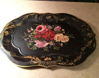 Vintage Tole Tray, Beautiaful Hand Painted Flowers, Gold Trim