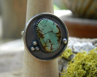 Natural Hubei Turquoise Shadowbox Ring - Size  8 - Rustic, Oxidized Silver