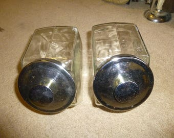 Slant front glass jars with metal lids - Matched Set of Two 6 sided classic candy store style jars in excellent condition