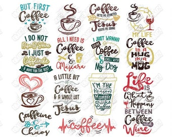 Coffee SVG Bundle Quotes Sayings Lover Junkie Addict Funny svg dxf eps jpeg png clipart cricut silhouette cut files