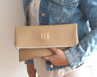 Monogrammed Foldover Clutch Purse / Bridesmaid Gift / Personalized Clutch Bag / Evening Clutch Purse