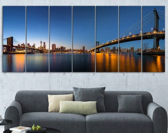 New York City Dusk Panorama  Canvas Art Print and Metal Wall Art Available in Different Sizes (PT14588)