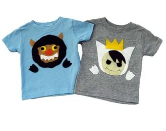 A Wild Boy & A Wild Monster Kids T-Shirts Combo