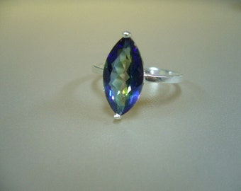 Rainbow Topaz Sterling Silver Ring Size 6.5