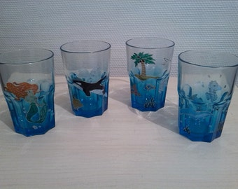 Painted glasses: Caribbean, beach, Mermaid and fish colorful