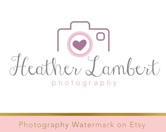 Instant download logo - Pre-made Logo - Photography Watermark - Camera Watermark - Whimsical Logo - Camera Logo - PSD - Heart watermark 181