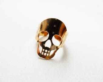skull ring skull jewelry memento mori ring goth ring gold skull ring goth skull jewelry adjustable ring