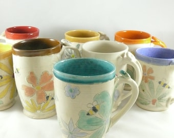 Set of 4 Unique coffee mugs, Four Save the Bees large ceramic mugs, unique coffee mugs, pottery cups,  16-20 ounce  teacups handmade mug