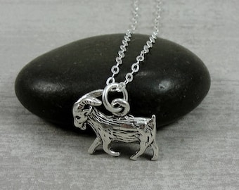 Goat Necklace, Sterling Silver Goat Charm on a Silver Cable Chain