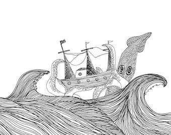 The Kracken Illustration Design Print