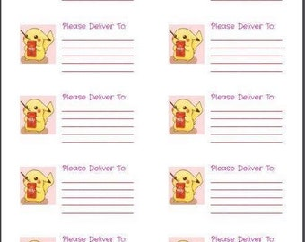 Pikachu Pokey Please Deliver To label