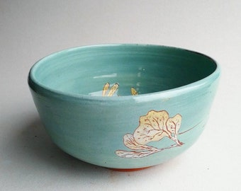 Botanical Illustrated Sea Green Bowl - wheel thrown, handmade terracotta pottery ceramic with weathered,  rustic decoration. OOAK. Gift.