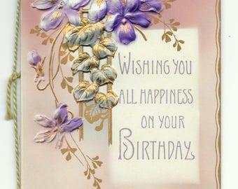 Victorian Violets Birthday Card, c. 1900