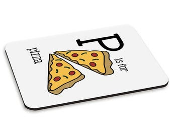 Letter P Is For Pizza PC Computer Mouse Mat Pad