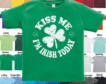 Kiss Me I'm Irish Today - Shamrock design T-Shirt - Boys / Girls / Infant / Toddler / Youth sizes