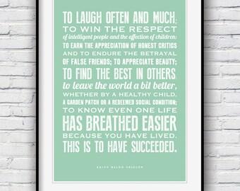 Ralph Waldo Emerson, Inspirational quote, Graduation gift, Inspirational print, quote prints, To laugh often