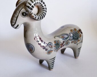 "Tonala Mexico ~ Signed By Ken Edward's ~ Folk Art Ram ~ Ceramic ~ Hand Painted ~ Hand Crafted ~ 8""Hx9""Lx3""W"