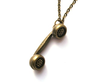 Hanging on the Telephone Necklace, Phone Necklace, Antiqued Bronze, 80s Style, Retro Phone