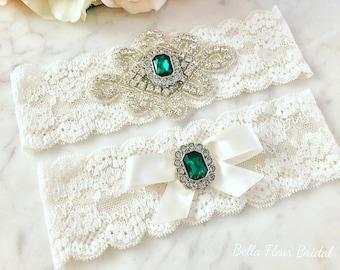 Emerald Green Garter, Green Wedding Garter, Christmas Garter, Rhinestone Garter, Ivory Lace Garter, Bridal Garter Set, Prom Garter