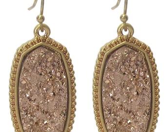 Druzy Earrings Gold/Rose Gold