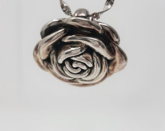 Vintage Sterling Silver 925 Flower Pendant Chain Necklace