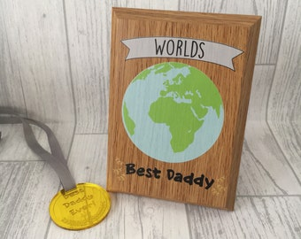 Personalised Father's Day Worlds Best Daddy Award - wooden plaque - printed plaque - gift for him - man gift