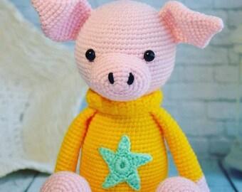 Piglet Crochet piglet Amigurumi Amigurumi piglet Piggy Crochet Toy Amigurumi toy First toy Piglet doll Pig in yellow sweater Crochet pig