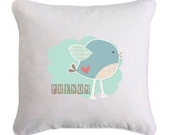 Cute birdy cushion personalised with name