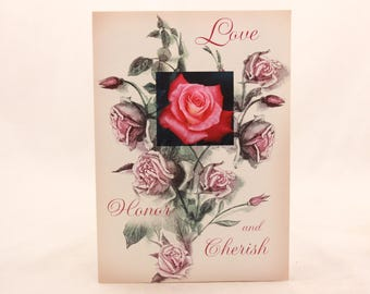 NEW! Vintage Wedding Greeting Card by Sunrise. Single card and envelope. Rose